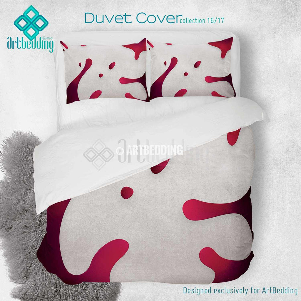 Magenta splashes printed Duvet cover, premium Magenta splashes duvet cover, Cotton sateen duvet cover, white grunge art print duvet cover, artbedding duvet cover