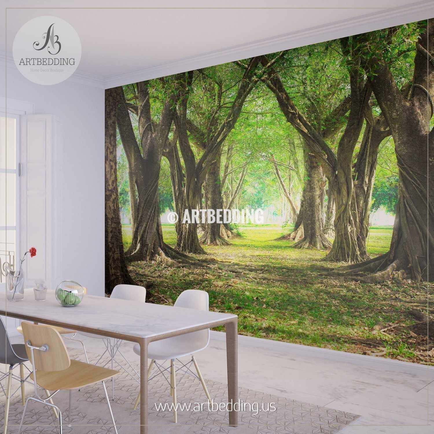 Magic Forest Green Wall Mural Self Adhesive Peel Stick wall mural