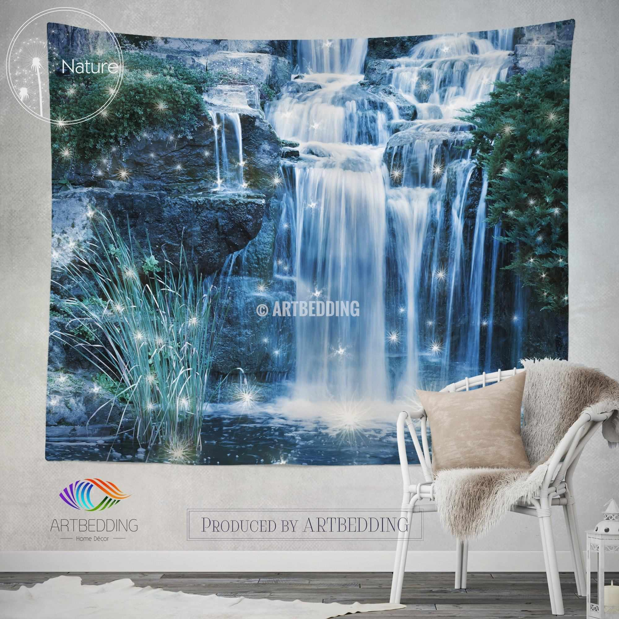 ... Magical Waterfall Wall Tapestry, Nature Wall Decor, Night Waterfall Wall  Art Print, Bedroom ...