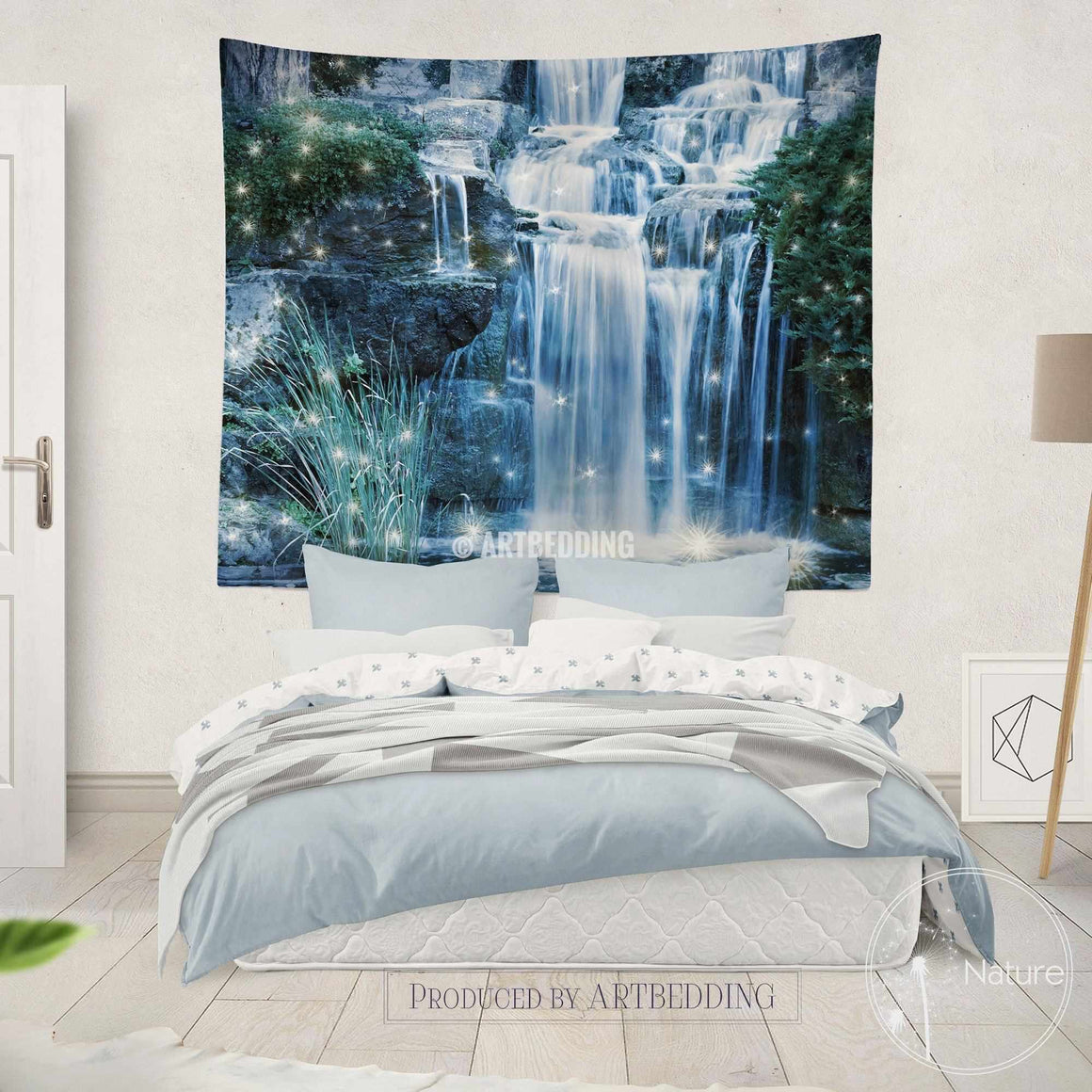 Magical Waterfall wall tapestry, Nature wall decor, Night waterfall wall art print, bedroom livingroom wall tapestries, boho wall hanging, bohemian decor