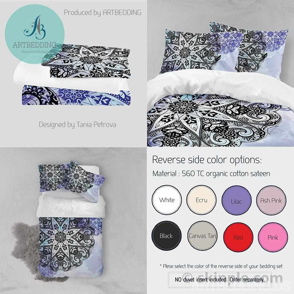 Mandala bedding, Bohemian duvet cover set, Deco mandala bedding set, Boho bedroom decor, artbedding art, dorm room bedding Bedding set
