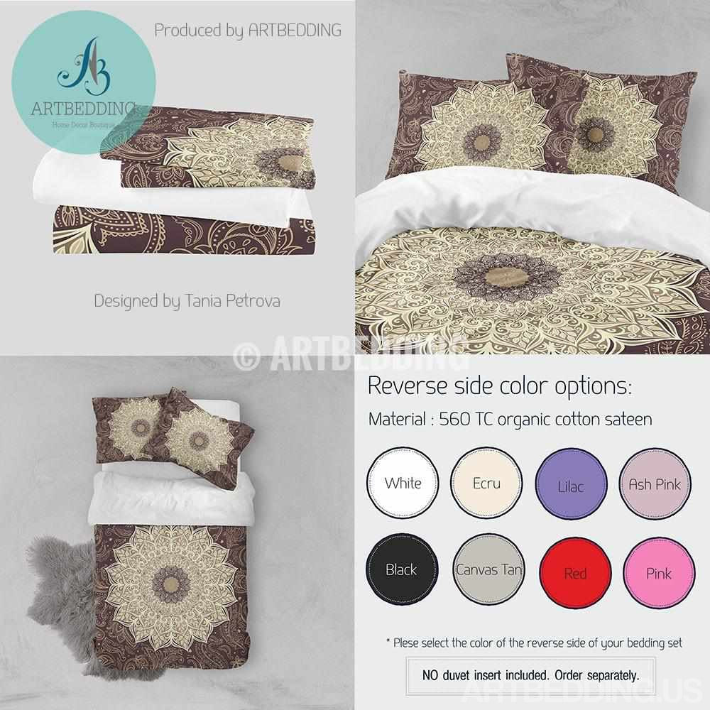 Mandala bedding, Bohemian duvet cover set, Flower mandala bedspread, Bohochic bedroom interior in brown and ecru Bedding set