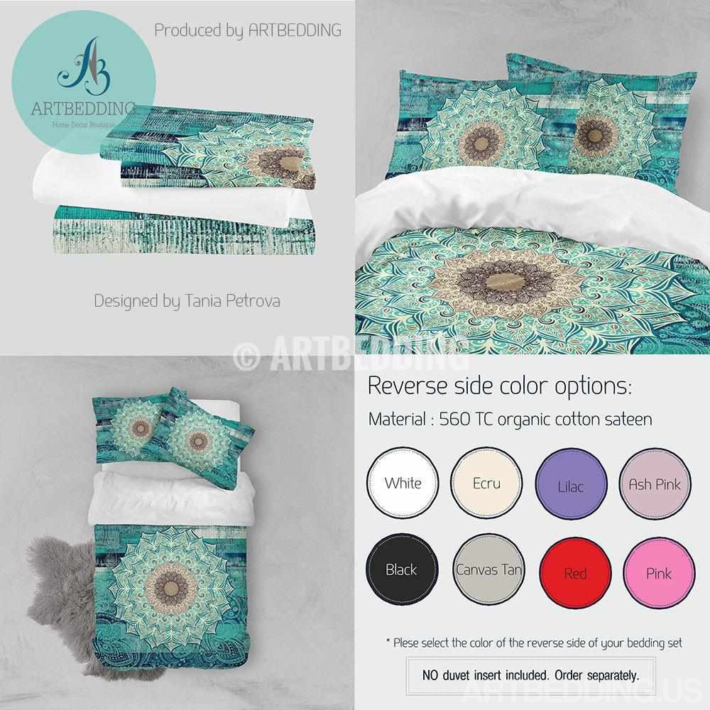 Mandala bedding, Bohemian duvet cover set, Flower mandala for balance and harmony boho bedroom decor, Bohochic home interior Bedding set