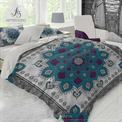 Mandala bedding, Teal and plum Mandala duvet cover set, Henna Mehendy mandala quilt cover set, boho bedspread Bedding set