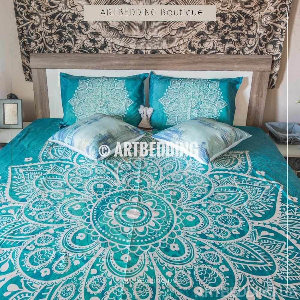Cot In A Box Morocco Turquoise: Mandala Bedding, Turquoise Green Lace Mandala Duvet Cover