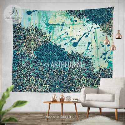 Mandala Tapestry, Blue and green Mandala tapestry wall hanging, mandala art tapestry, bohochic wall hanging Tapestry