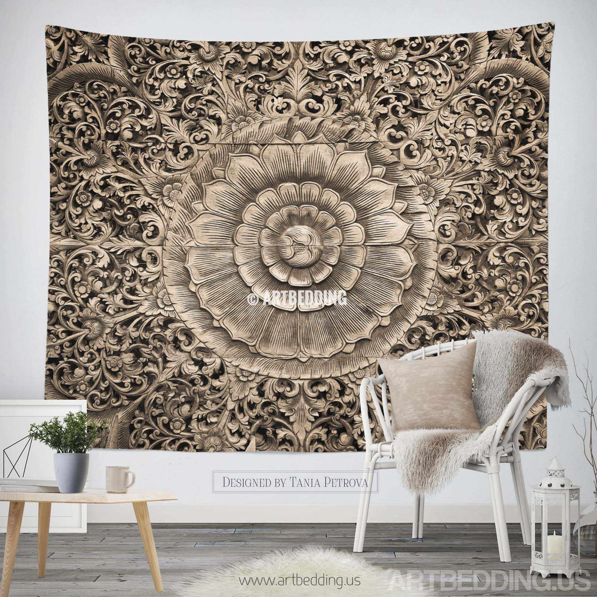 Mandala Tapestry, Carved wood mandala wall tapestry, Carved wood tapestry wall hanging, bohemian wall tapestries, Boho tapestries, Mandala bohemian decor Tapestry