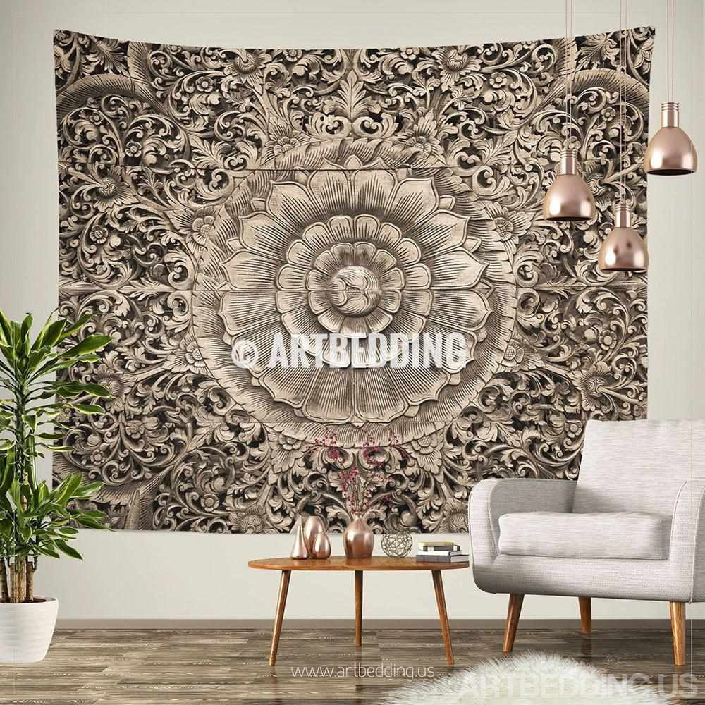 Tapestry Wall Hanging mandala tapestry, carved wood mandala wall tapestry, carved wood