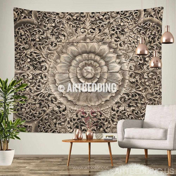 Mandala Tapestry Carved Wood Mandala Wall Tapestry