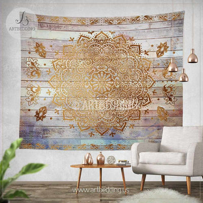 Mandala Tapestry, Mehendy henna ethno mandala wall tapestries, bohemian tapestry, Chabby chic vintage mandala decor, distressed wood wall art print Tapestry
