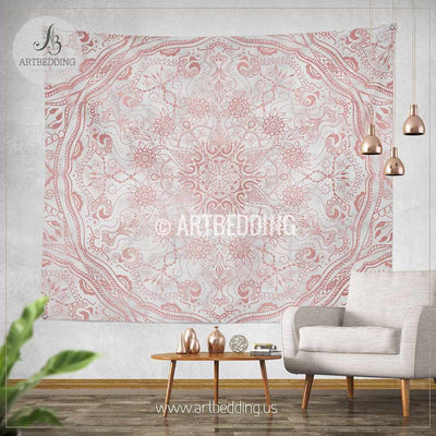 Mandala Tapestry, Mehendy henna rose gold and marble mandala wall tapestry, bohemian tapestry, Vintage rose gold mandala decor Tapestry
