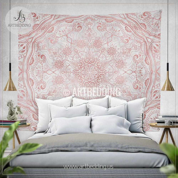 Mandala Tapestry Mehendy Henna Rose Gold And Marble