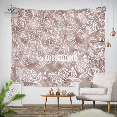 Mandala Tapestry, Rose gold metallic mandala wall tapestry, bohemian tapestry, Vintage rose gold mandala decor Tapestry
