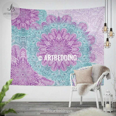 Mandala wall tapestry, Purple and light teal Mandala wall hanging, Serenity ethno Indie art tapestry, bohemian interior Tapestry