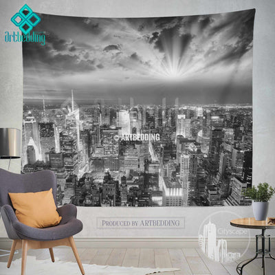 Manhattan NYC monochromatic cityscape wall tapestry, Sunset over Manhattan cityscape wall decor, New York artbedding cityscape wall decor