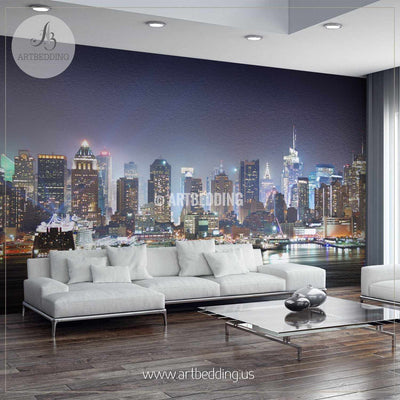 Manhattan skyline panorama at night over Hudson River with refelctions viewed from New Jersey Wall Mural, Landmarks Photo Mural, Cityscape photo mural wall mural