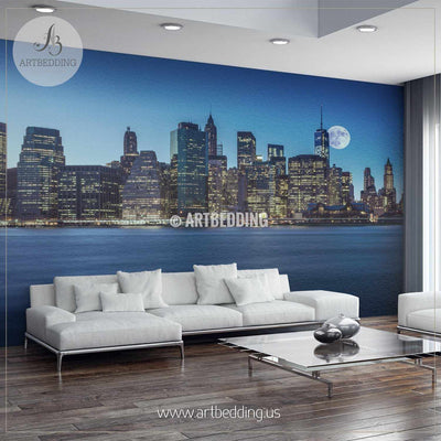 Manhattan Skyline with Brooklyn Bridge, New York City Wall Mural, Landmarks Photo Mural, Cityscape photo mural wall mural
