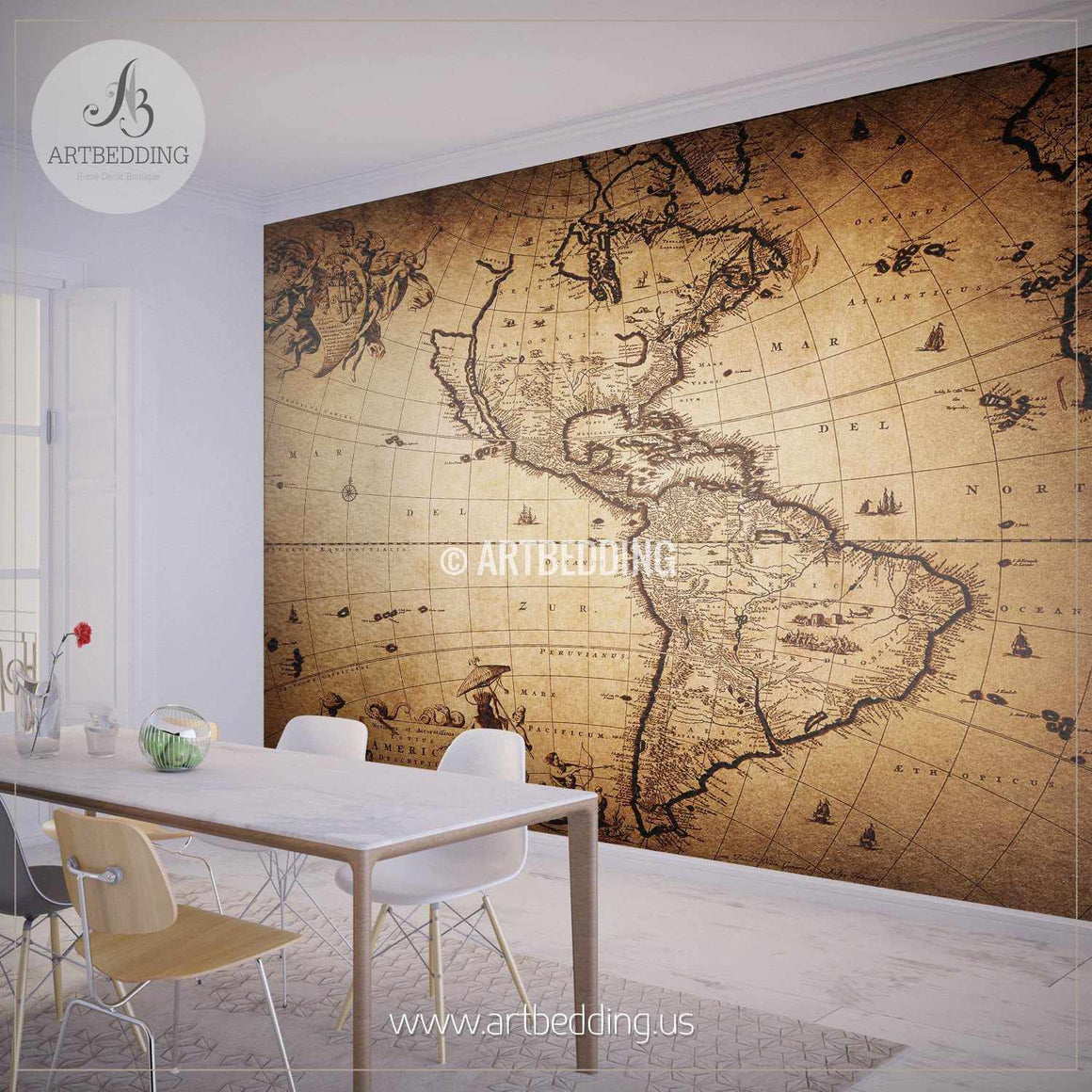 Map of America from 1690 Wall Mural, Self Adhesive Peel & Stick Photo Mural, Atlas wall mural, mural home decor wall mural