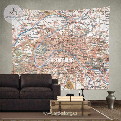 Map of Paris and the suburbs wall tapestry, vintage interior map wall hanging, old map wall decor, vintage map wall art print Tapestry