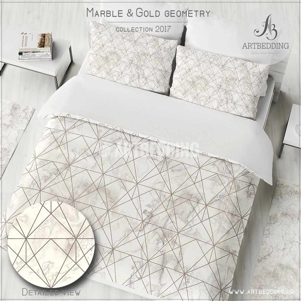 Marble and copper geometry duvet cover beige marble for Black and white marble bedding