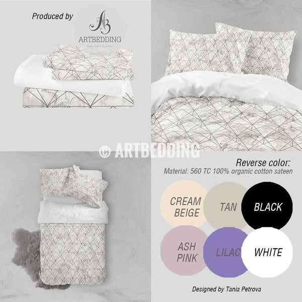 Marble And Copper Geometry Duvet Cover Beige Marble