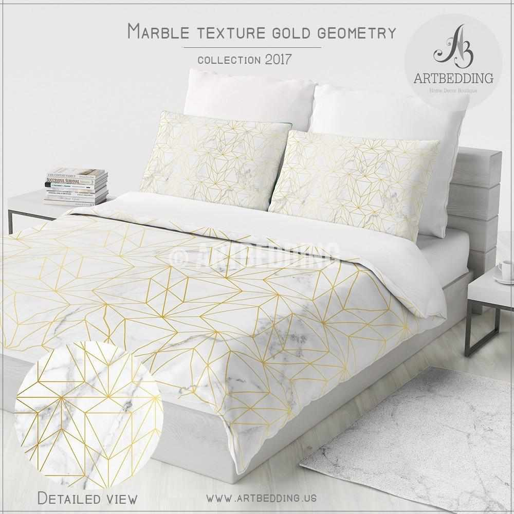 ... Marble And Gold Geometry Duvet Cover, White Natural Marble Metallic Art  Print Duvet Cover, ...