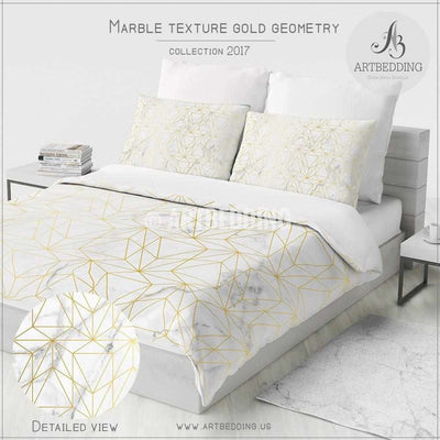 Marble and gold geometry Duvet cover, White natural marble metallic art print duvet cover, Geometry bedding, artbedding duvet cover