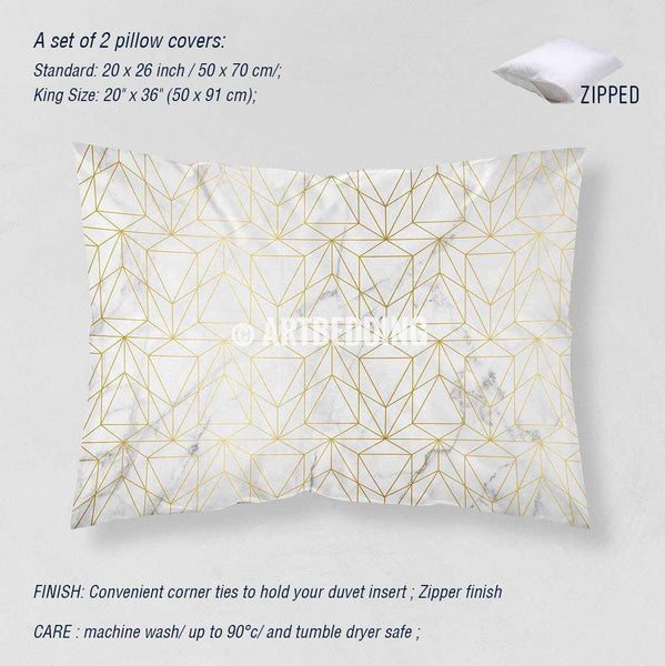 Marble And Gold Geometry Duvet Cover White Natural Marble