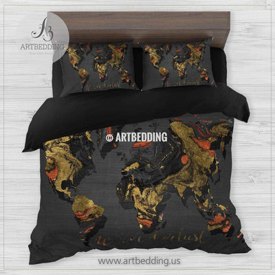 Marble map bedding, Black and orange marble duvet cover set, Wanderlust marble travel map comforter set Bedding set