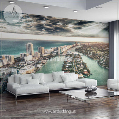 Miami Beach aerial view at dusk Wall Mural, Landmarks Photo Mural, photo mural wall décor wall mural