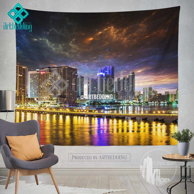 Miami cityscape wall tapestry, Downtown Miami at night wall tapestry, Miamy night cityscape wall decor, Miami lights wall interior, artbedding Miami cityscape wall decor