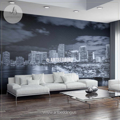 Miami skyline in black and white Wall Mural, Landmarks Photo Mural, photo mural wall décor wall mural