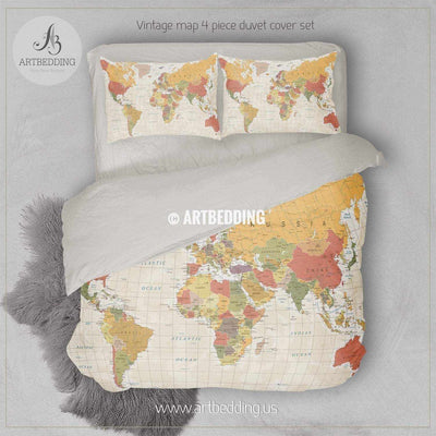Modern Detailed World Map bedding, Vintage world map duvet cover set, Travel world map conforter set Bedding set