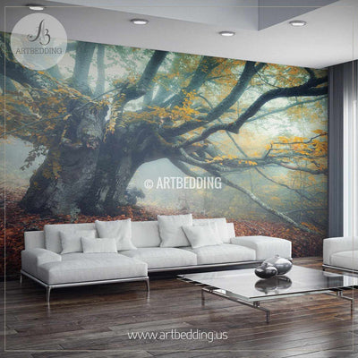 Mystical Autumn Forest Self Adhesive Peel & Stick, Nature wall mural wall mural