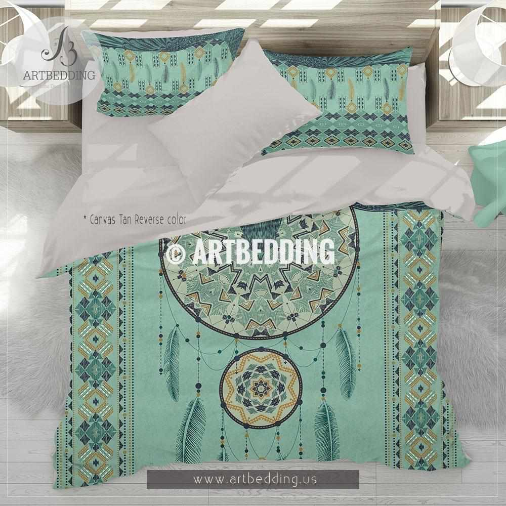Native American Tribal Dreamcatcher  bedding, Boho tribal indian duvet bedding set, Dremacatcher talisman comforter set Bedding set