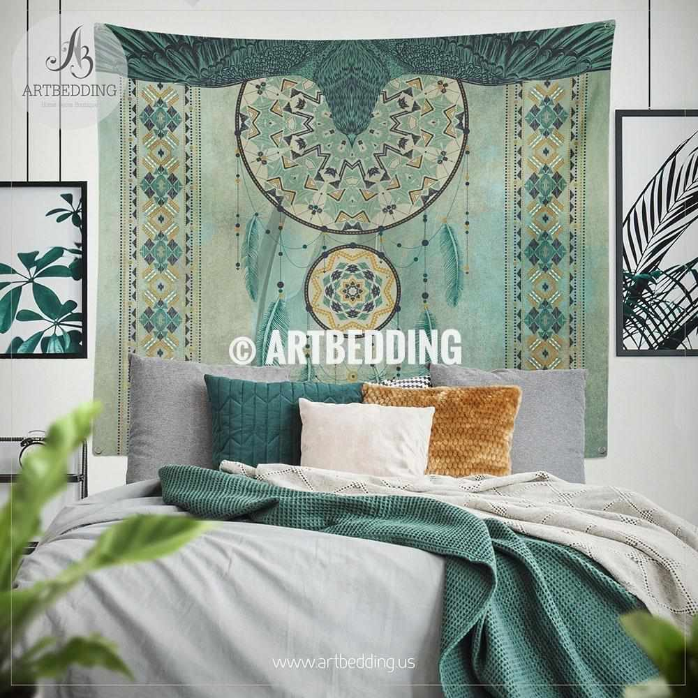 Native American Tribal Dreamcatcher wall tapestry, Boho tribal indian wall hanging, Dreamcatcher wall art print, Native american eagle boho wall tapestries Tapestry