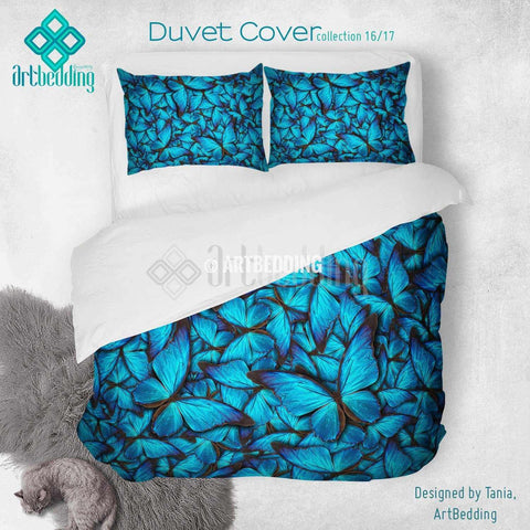Nature blue butterflies printed Duvet cover, premium butterflies duvet cover, Cotton sateen duvet cover, butterflies art print duvet cover, artbedding duvet cover