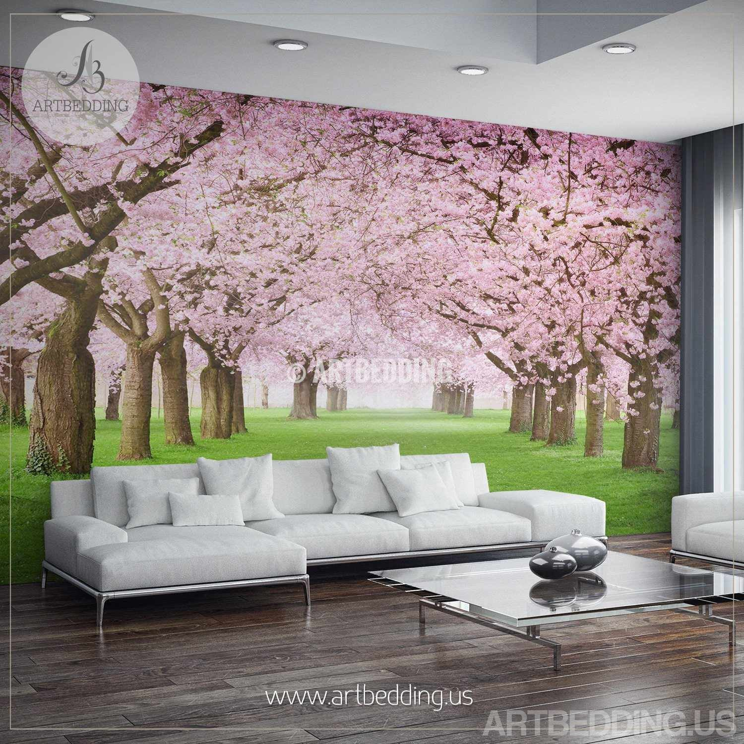 Nature Wall Mural Chery Blossom Pathway On A Green Lawn, Cherry Blossom  Photo Mural Self ... Part 41