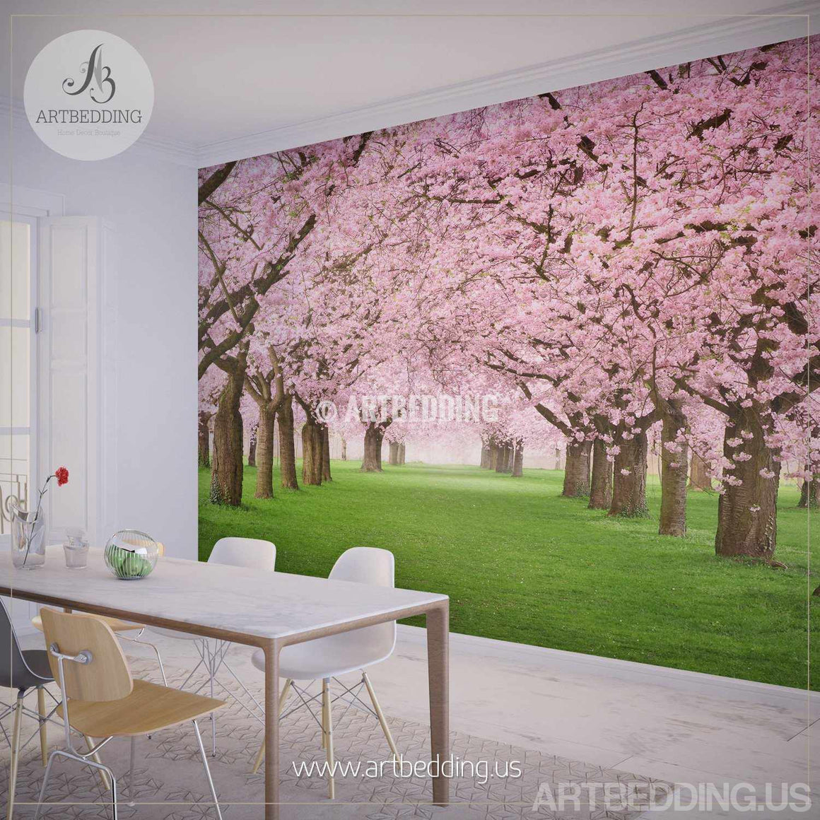 Wall murals peel and stick self adhesive vinyl hd print nature wall mural chery blossom pathway on a green lawn cherry blossom photo mural self amipublicfo Choice Image