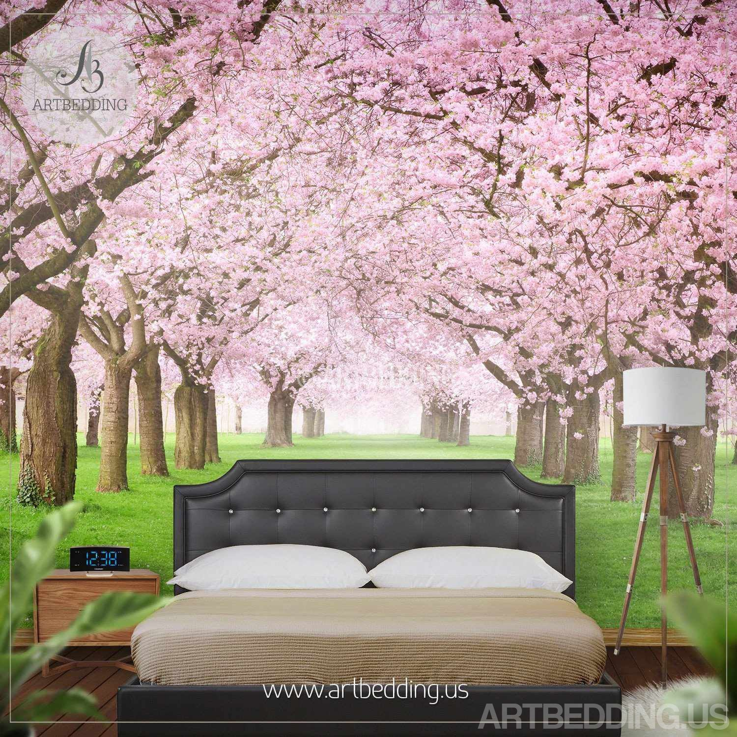 Nature Wall Mural Chery Blossom Pathway On A Green Lawn Cherry