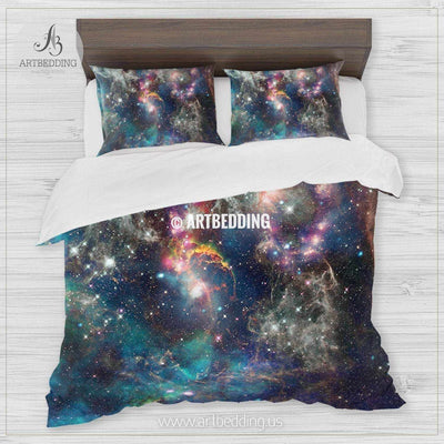 Nebula, galaxy and stars bedding, Abstract space Bedding set, Galaxy print Duvet Cover, 3D galaxy bedding Bedding set