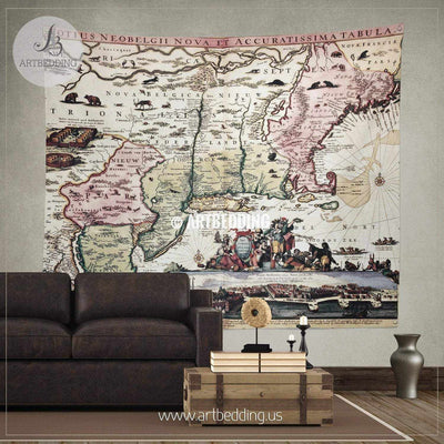 New England old map with New Amsterdam insert view wall tapestry, vintage interior map wall hanging, old map wall decor, vintage map wall art print Tapestry