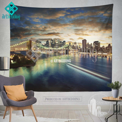 New York at sunset wall tapestry, New York at night wall tapestry, New York cityscape wall decor, New York lights wall interior, artbedding wall decor