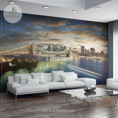 New York City Sunset Cityscape Wall Mural, USA Photo sticker, USA wall decor wall mural
