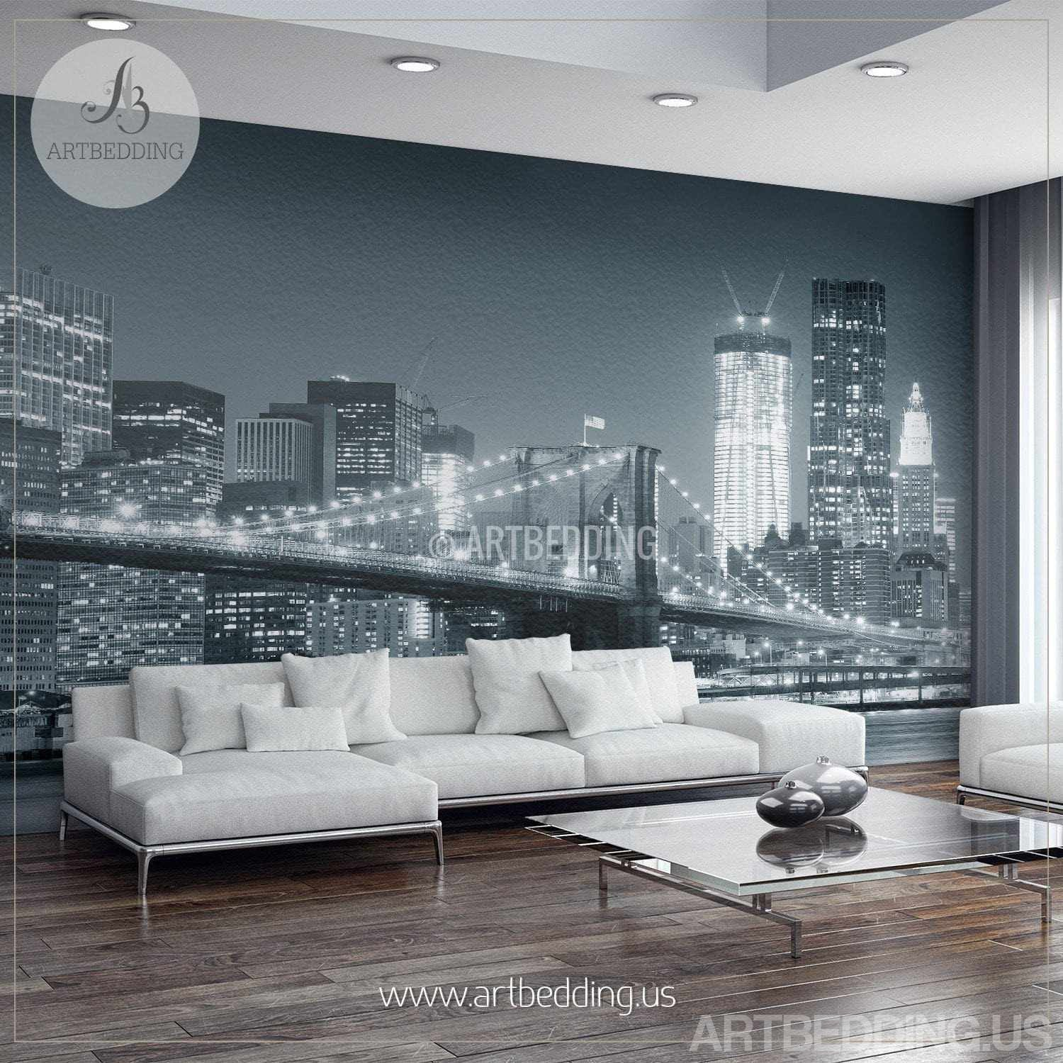 ... New York Cityscape Wall Mural, Brooklyn Bridge Photo Sticker, New York  Downtown Skyline Wall ... Part 64