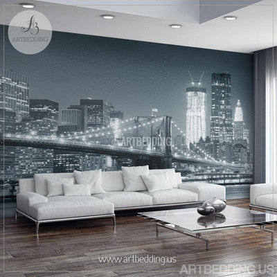 New York Cityscape Wall Mural, Brooklyn Bridge Photo sticker, New York Downtown skyline wall decor wall mural