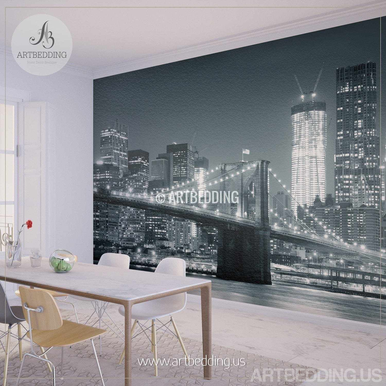 New york cityscape wall mural brooklyn bridge photo for Cityscape wall mural