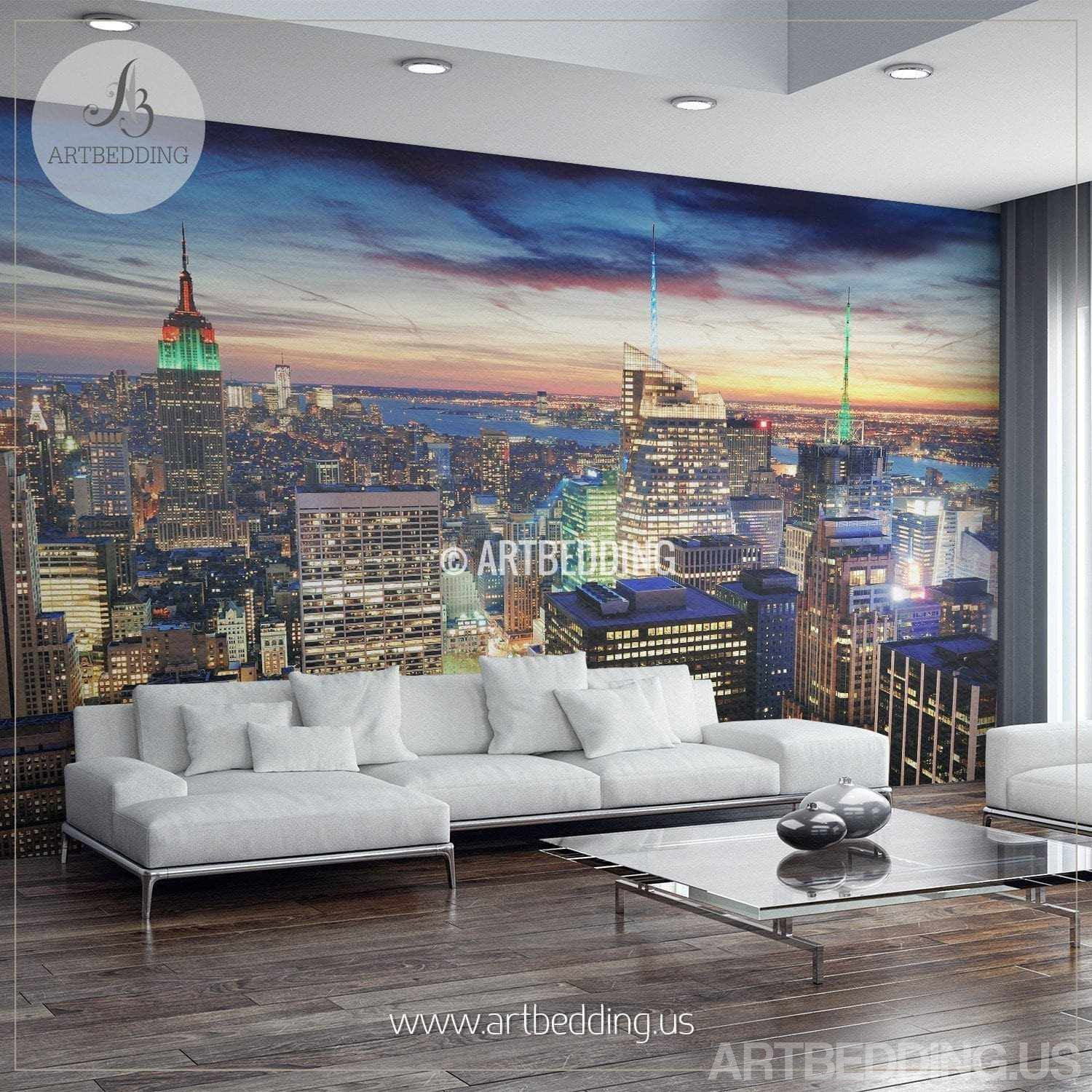 New York Cityscape Wall Mural New Yoork Sunset Photo Artbedding