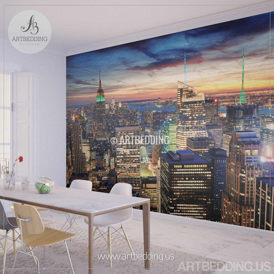New York Cityscape Wall Mural, New York sunset Photo sticker, New York Downtown skyline wall decor wall mural