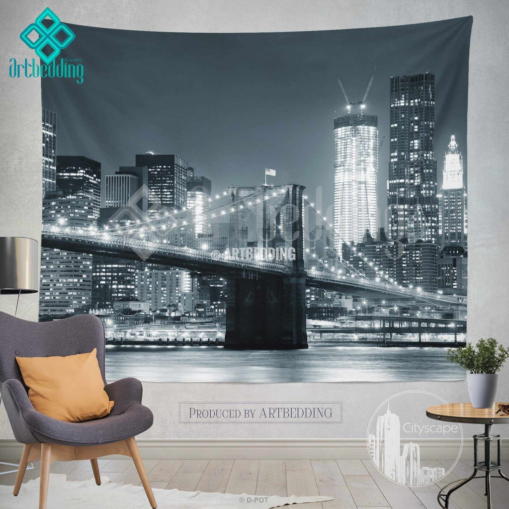 new york monochromatic cityscape wall tapestry brooklyn bridge at new york monochromatic cityscape wall tapestry brooklyn bridge at night cityscape wall decor new york artbedding cityscape wall decor artbedding